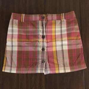 JCrew plaid button down miniskirt size 12