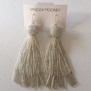 Vanessa Mooney Silver Tassel Beaded Earrings