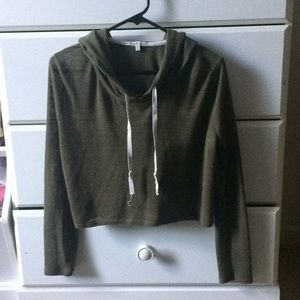 CHARLOTTE RUSSE Green Cropped Hoodie