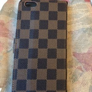 iPhone 7plus brown Checkered Wallet Style case