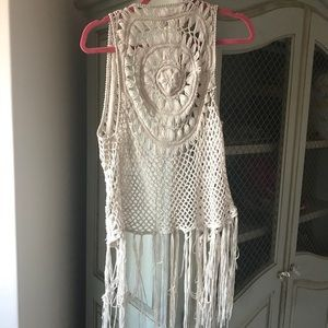 Crotchet Tan Long Vest