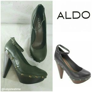 ALDO Platform Army Green Studded Ankle Strap, NEW