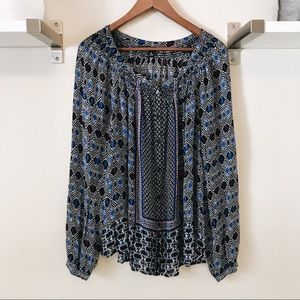 Lucky Brand Blue and Black Patterned Flowy Blouse