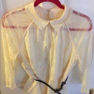 Lace Eva Mendes blouse with belt