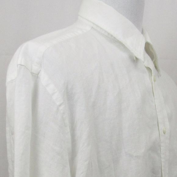 20f3408b42 Orvis mens size XL white pure linen shirt. M 5a1c63e06802788b680cef8d