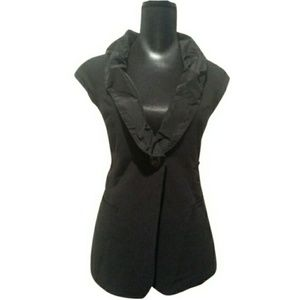 CAbi Black Ruffled Collar Vest