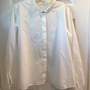 COS white cotton shirt with pleated collar sz 12