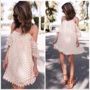 Tularosa Cream Crochet Dress