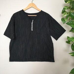 NWOT Linen Henley striped blouse