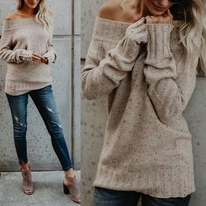 ALYSSA Speckled Knit Sweater