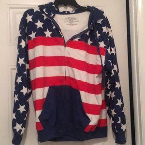 American flag zip up hoodie