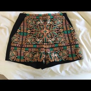 Embroidered black shorts
