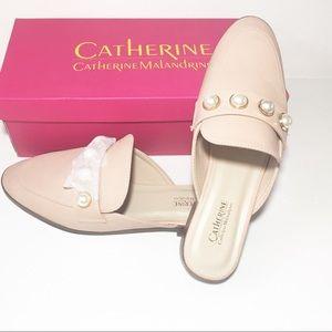 CATHERINE MALANDRINO Nude Faux Pearl Flats Women 8