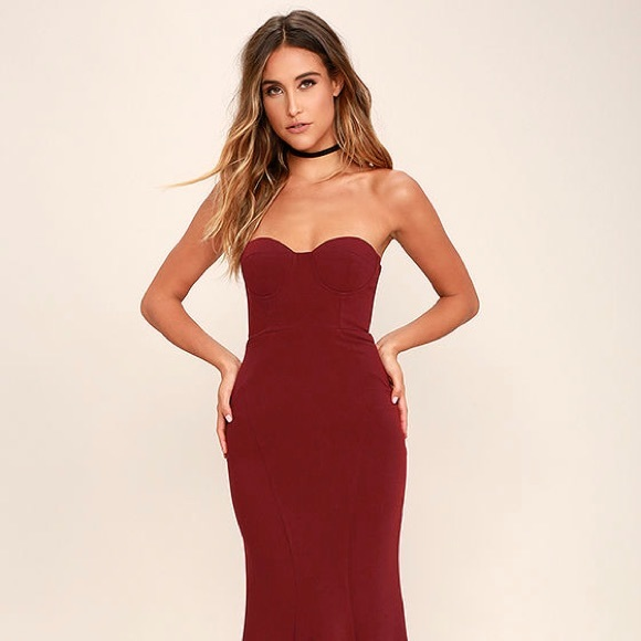 7f16330420df Lulu's Dresses | Lulus For Infinity Burgundy Strapless Maxi Dress ...