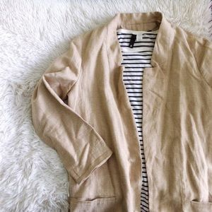 ZARA tan long sleeve linen blend tuxedo blazer