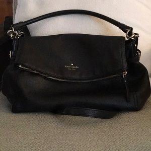 kate spade fold over black bag, crossbody strap.