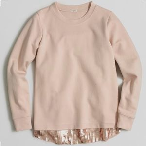 J. Crew Blush Sequin Trim Sweatshirt
