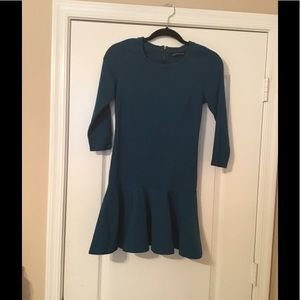 Zara stretchy ruffle bottom dress teal XS 0 S