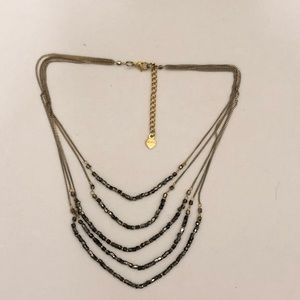 Nakamol Multilayered Pewter Gold Beaded Necklace