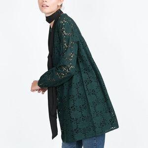 ZARA TEAL-GREEN LACE & HEMSTITCH DRESS