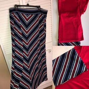 New Listing 👠 🅿️ Blue Red White Lined Skirt