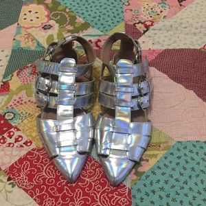 Holographic Cutout Shoes