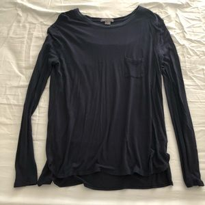 Vince Navy Long Sleeve Knit Top