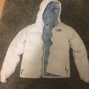 white north face down jacket