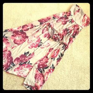 Romper with built in maxi cape skirt