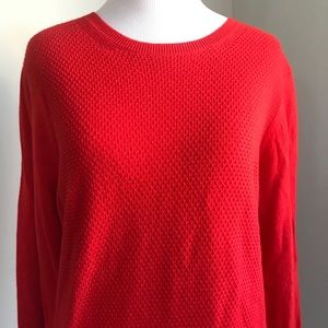 LOFT Red Long Sleeve Textured Sweater Size L