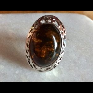 Sterling silver amber ring.