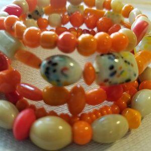 Orange/Beige Wrap Bracelet