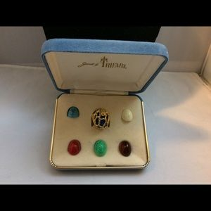 Vtg. Crown Trifari Interchangeable Cab Cage Ring