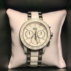 Lacoste white and silver watch womens