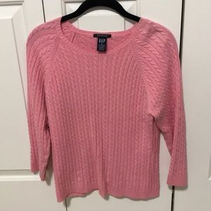 GAP thin cable bubble gum pink sweater