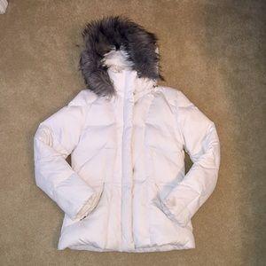 Calvin Klein White Puffy Coat with Fur Hood