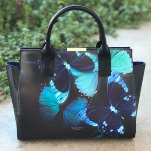 Ted Baker Butterfly Collective Black Blue Tote Bag