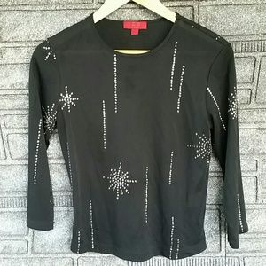 BCBG Max Azria 3 quarter sleeve sparkle shirt medi