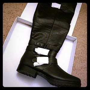 Shoes - Black buckled knee high boots