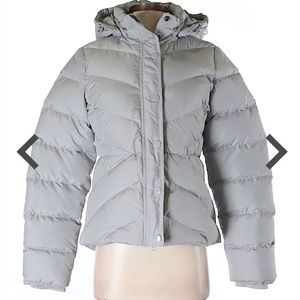 J.Crew   Gray Hooded Puffer Coat   Small