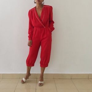 VINTAGE | Cropped Red Long Sleeve Jumpsuit
