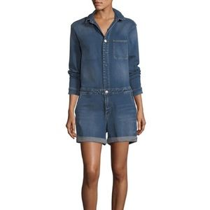 Nanette Lepore Denim Distressed Romper