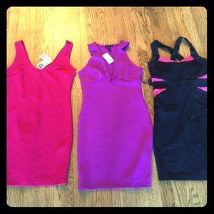 Bundle! 3 party mini dresses. pink, fuchsia, black