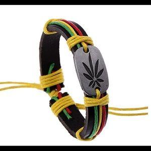 Fashion Maple Leaf Braid Faux Leather Bracelet