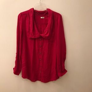Odille Anthropologie M Pink Button Down Blouse