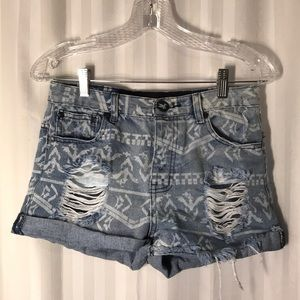 One Teaspoon Aztec Distressed Shorts