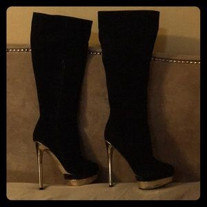 Goldtone stiletto heeled boots