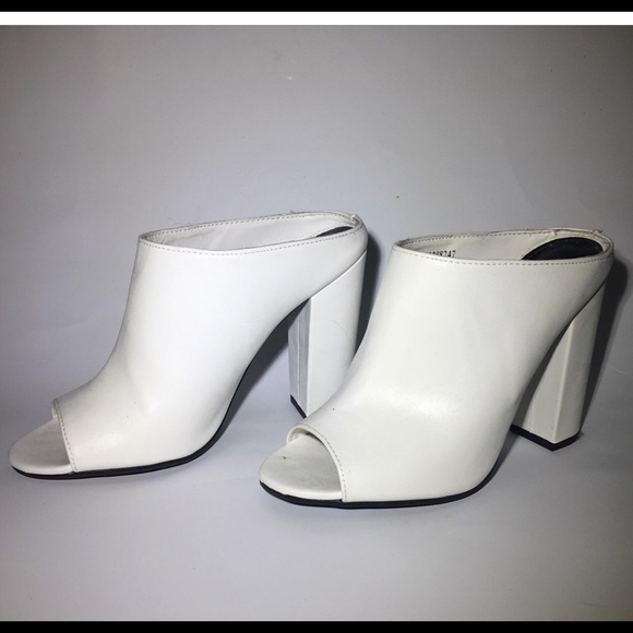 White Forever 2 Minimalist Mule Heels