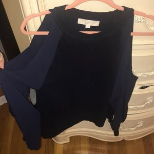 LOFTNavy blue sweater with chiffon cut out sleeves