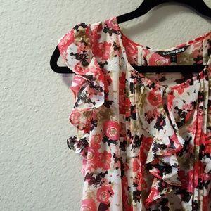 Express short sleeve floral blouse